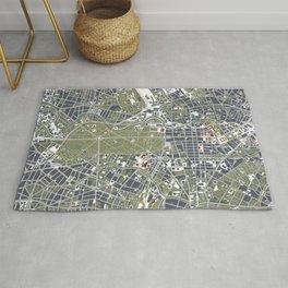 Berlin city map engraving Rug