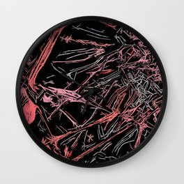 Red, gray and pink abstraction, lines, curves, pattern Wall Clock