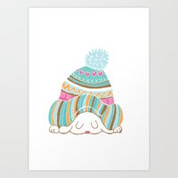 hat Art Prints featuring Hat by Samantha Eynon