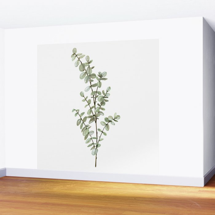 Baby Blue Eucalyptus Watercolor Painting Wall Mural