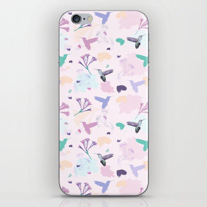Hummingbird and flower pastel petal pattern iPhone Skin