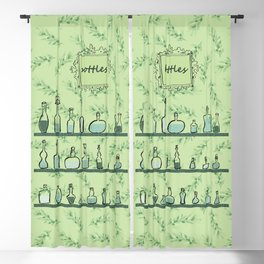 Bottles on shelves Blackout Curtain