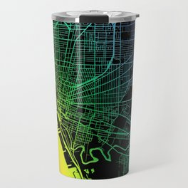 Buffalo, NY, USA, City, Map, Rainbow, Map, Art, Print Travel Mug
