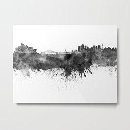 Sydney skyline in black watercolor Metal Print