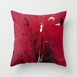 Rising - Black and red abstract splash painting by Rasko Throw Pillow