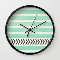 MINT STRIPES AND ARROWS Wall Clock