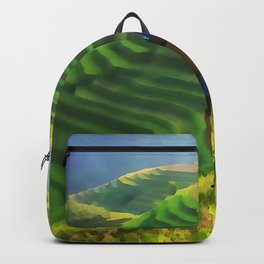 Hillside Harvest | Terraced Agriculture In China | Watercolor Painting Backpack