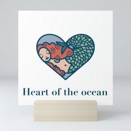 Mermaid, Heart og the Ocean, original artwork Mini Art Print