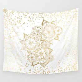 Hand drawn white and gold mandala confetti motif Wall Tapestry