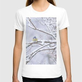 Blue Tit On A Snowy Branch Winter Scene #decor #society6 T-shirt