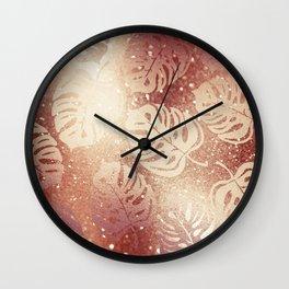 Whisper-Copper Palm Leaves Pattern Wall Clock