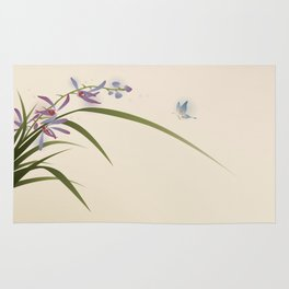 oriental style painting, flowers and butterfly Rug