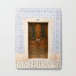 Ericeira door | Portugal travel photography print | Pastel wanderlust vibes  Metal Print