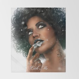 LICK ME - Black Throw Blanket