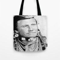 native american Tote Bags featuring Native American by chomaee