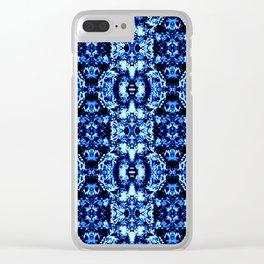Flower Pattern Cobalt Blue Clear iPhone Case