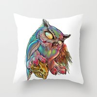 gemma correll Throw Pillows featuring Zombie Owl by Gemma Pallat by ToraSumi