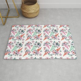 Pink teal hand painted watercolor cone tropical floral Rug