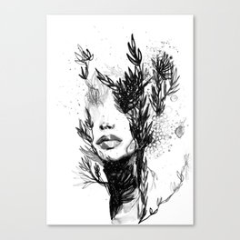 BLACK N WHITE WOMEN ABSTRACT FACE-LOVE Canvas Print