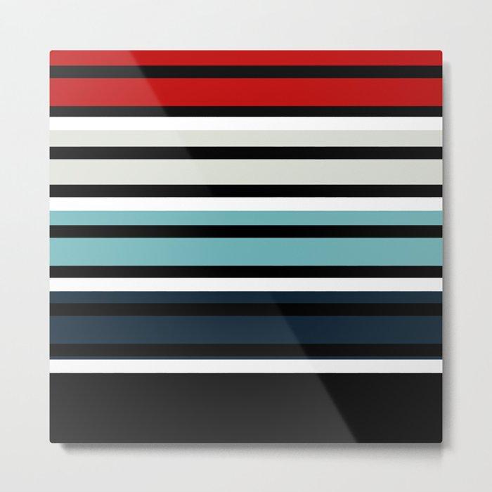 Pattern stripes . Blue , red , white , gray , black . Metal Print