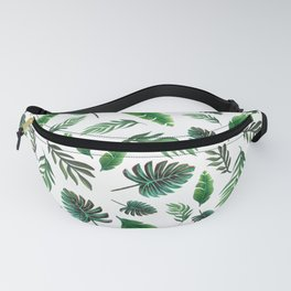 palm leaf print, tropical watercolor Fanny Pack