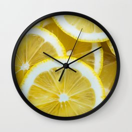 Yellow Watercolor Lemon Wall Clock