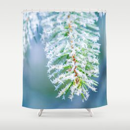 Bitter Cold, Frost On Spruce Tree Shower Curtain