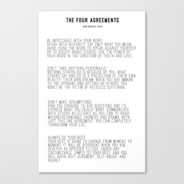 The Four Agreements BW #minimalism Canvas Print