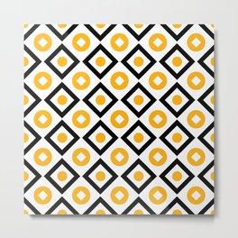 Sun yellow pattern of rhombuses and circles Metal Print