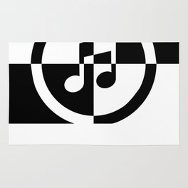 Black and White Music Note Rug