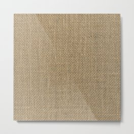 Natural Woven Beige Burlap Sack Cloth Metal Print
