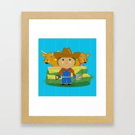Rancher Dude With Cattle (Kawaii Style) Framed Art Print