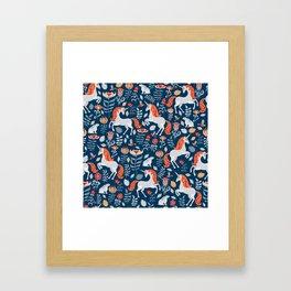 Unicorns, rabbits, birds, flowers. Decorative seamless pattern. Folk art. Framed Art Print