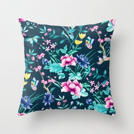 Colorful Spring flowers bloom Throw Pillow