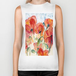 Tangerine Orange Poppy field WaterColor by CheyAnne Sexton Biker Tank