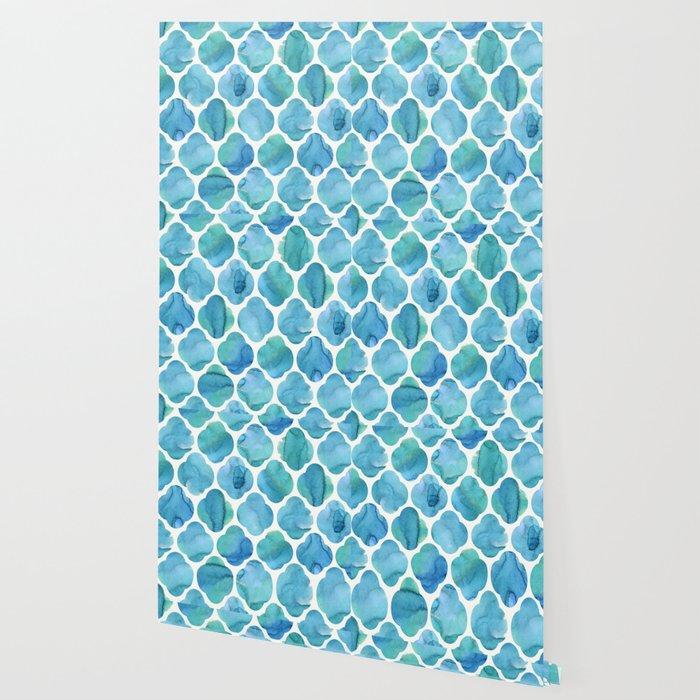 Watercolour Blue Moroccan Tile Print Wallpaper