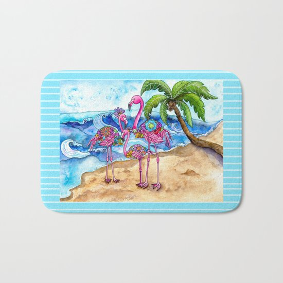 The Flamingo Family's Day at the Beach Bath Mat