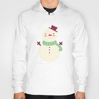 snowman Hoodies featuring Snowman by Claire Lordon