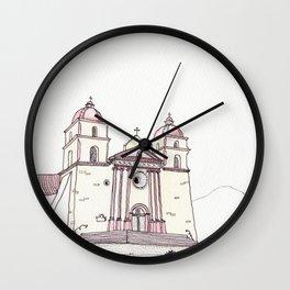 The Old Mission in Santa Barbara Wall Clock