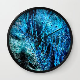 alien landscape indigo blue green forest surreallist Wall Clock