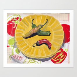 Chilis on a Plate in Gouache Art Print