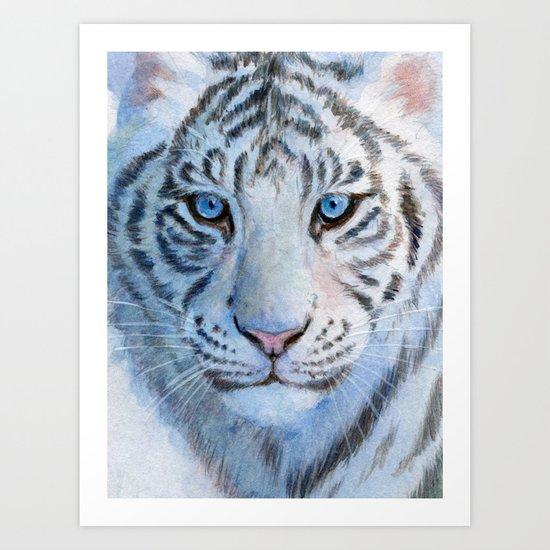 White Tiger Cub 852 Art Print