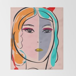 Pastel Pop Art Girl Portrait Minimalist Throw Blanket