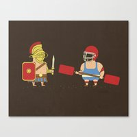 gladiator Canvas Prints featuring Gladiator Vs Gladiator by Teo Zirinis