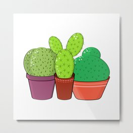 Colorful family of cacti. Metal Print