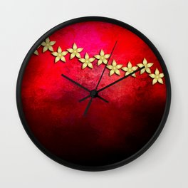 Spectacular gold flowers in red and black grunge texture Wall Clock