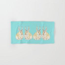 Watercolor Grumpy Jackalope Antler Bunny Hand & Bath Towel