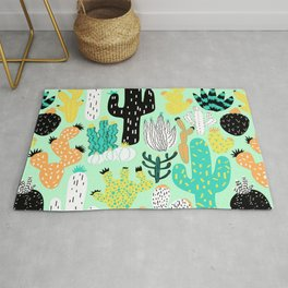 Cactus Crazy in Mint - Large Scale Rug