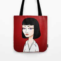 mia wallace Tote Bags featuring Mia Wallace by Pendientera