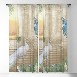 Golden Royal Peacock Temple Dreams Sheer Curtain